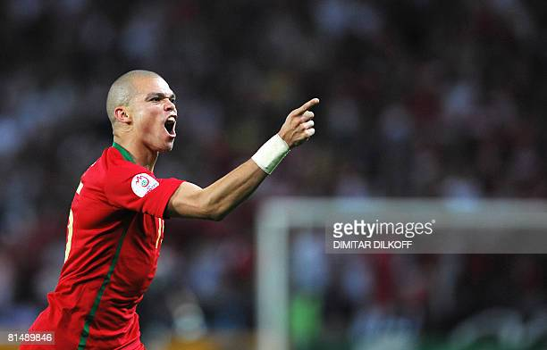 Portuguese defender Pepe celebrates after scoring during the Euro 2008 Championships Group A football match Portugal against Turkey on June 7 2008 at...