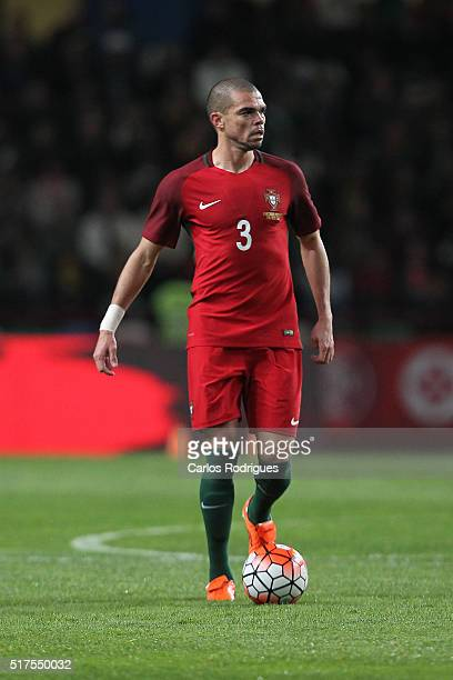 Portuguese defender Pepe during the match between Portugal and Bulgaria Friendly International at Estadio Municipal de Leiria on March 25 2016 in...