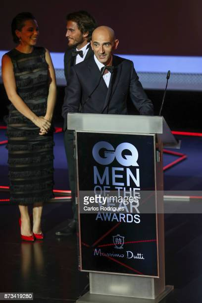 Portuguese designer Miguel Vieira receives the National Designer award during the Gala of the GQ Men Of The Year' Awards 2017 in Portugal at Teatro...