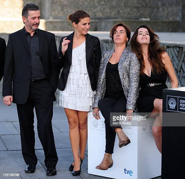 Portuguese director Joao Canijo poses with actresses Anabela Moreira Rita Blanco and Cleia Almeida after the screening of their film 'Sangue do meu...