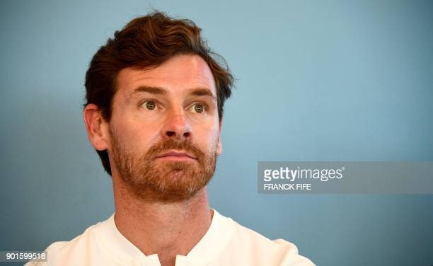 Portuguese driver and former head coach of British football teams Chelsea and Tottenham Andre Villas Boas is pictured during a press conference in...