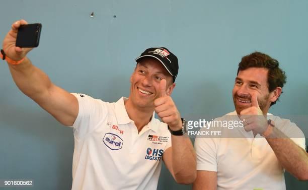 Portuguese driver and former head coach of British football teams Chelsea and Tottenham Andre Villas Boas and Dutch driver Bernhard Ten Brinke take a...