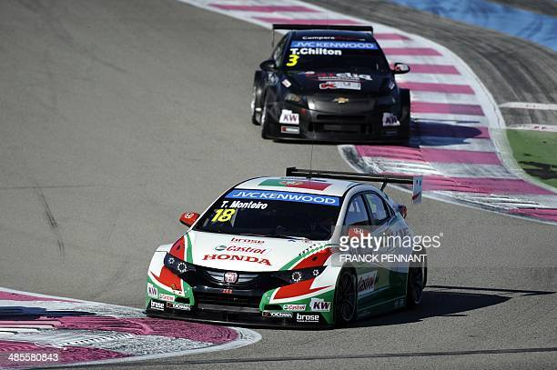 Portuguese driver Tiago Monteiro din a Honda Civic and English driver Tom Chilton in a Chevrolet RML Cruze TC1 - 3 take part in a training session as...