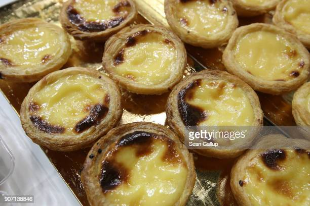 Portuguese egg tart pastries lie on display at the 2018 International Green Week agricultural trade fair on January 19 2018 in Berlin Germany The...