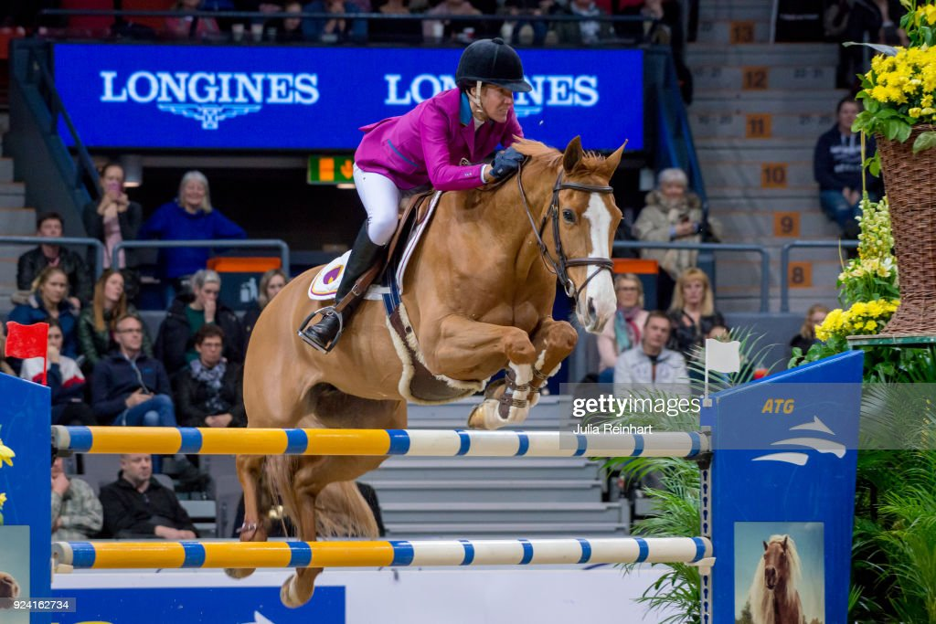 Portuguese equestrian Luciana Diniz on Fit for Fun 13 places eight in the FEI Longines World Cup jumping during the Gothenburg Horse Show in Scandinavium Arena on February 24, 2018 in Gothenburg, Sweden.