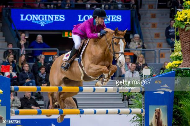 Portuguese equestrian Luciana Diniz on Fit for Fun 13 places eight in the FEI Longines World Cup jumping during the Gothenburg Horse Show in...