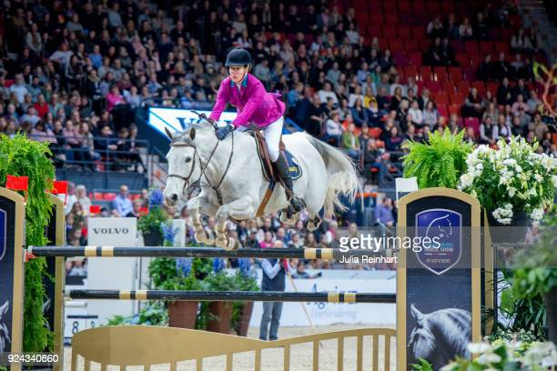 Portuguese equestrian Lucinda Diniz on Isabeau rides in the Accumulator Show Jumping Competition during the Gothenburg Horse Show in Scandinavium...