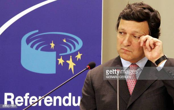 Portuguese EU Commisssion Chief Jose Manuel Barroso gestures during a press conference on the result of the Dutch EU Constitution referendum at the...