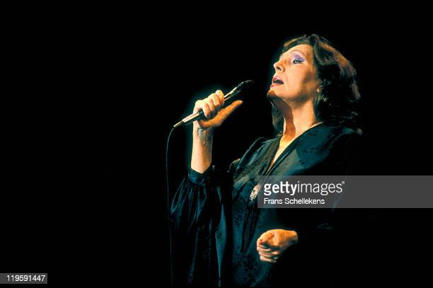 Portuguese fado singer Amalia Rodrigues performs live on stage at Leidsche Schouwburg in Leiden Netherlands on 29th May 1987