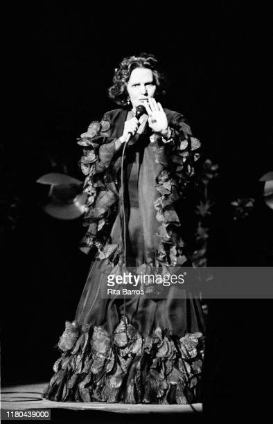 Portuguese Fado singer Amalia Rodrigues performs on stage East Providence Rhode Island March 20 1993