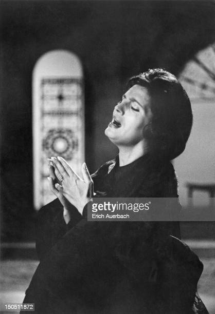 Portuguese fado singer Amalia Rodrigues recording a song for the BBC 4th September 1962