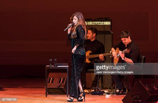 Portuguese fado singer Ana Moura performs with her band at Carnegie Hall New York New York April 26 2016 With her are Andre Moreira on electric bass...
