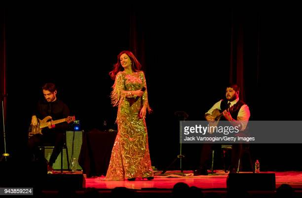 Portuguese Fado singer Ana Moura performs with her band with Andre Moreira on electric bass guitar and Angelo Freire on Portuguese guitar at a World...