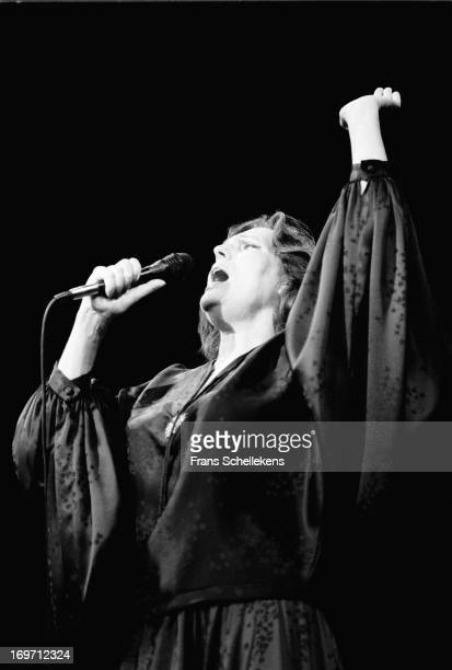 Portuguese fado singer and actress Amalia Rodrigues performs at the Leidsche Schouwburgl in Leiden the Netherlands on 29th May 1987