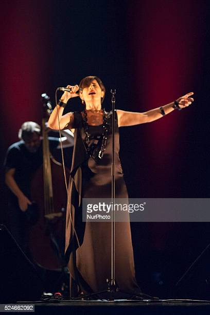 Portuguese Fado singer Cristina Branco performs on stage at Teatros del Canal during Madrid Fado Festival on June 28 2015 in Madrid Spain