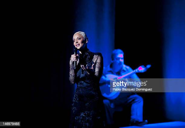 Portuguese fado singer Mariza performs live in concert at Canal Theatre on June 24 2012 in Madrid Spain