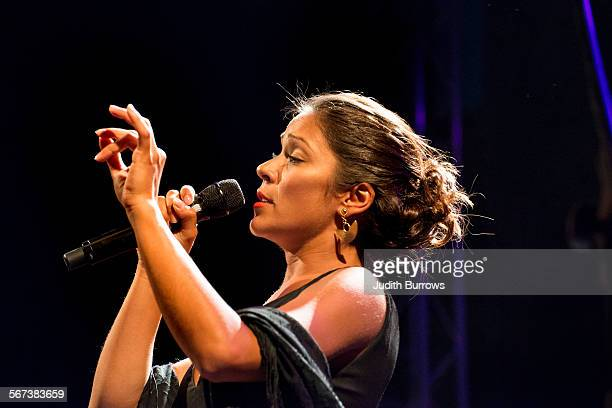 Portuguese Fado singer Raquel Tavares in concert at the Festival Med Loulé Portugal 26th June 2015