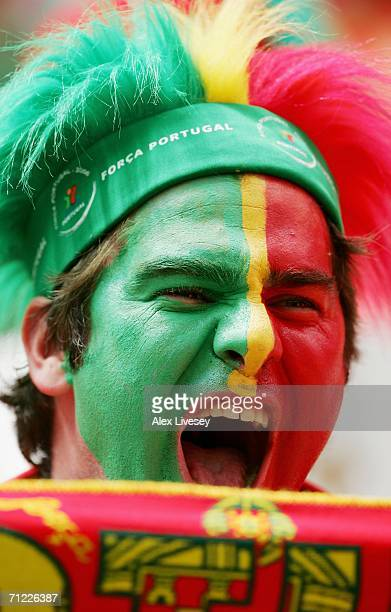 Portuguese fan shows off his country's colours prior to the FIFA World Cup Germany 2006 Group D match between Portugal and Iran played at the Stadium...