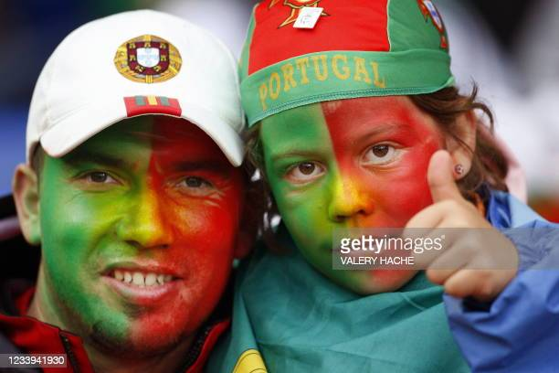 Portuguese fans pose before the Euro 2008 Championships Group A football match Switzerland vs. Portugal on June 15, 2008 at Jakob-Park stadium in...