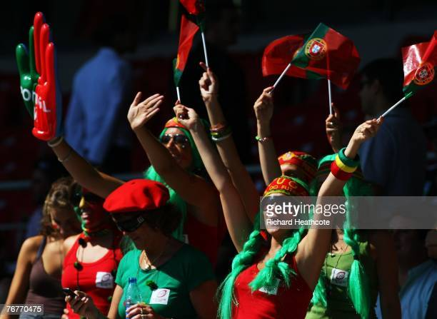 Portuguese fans show their colours prior to match fourteen of the Rugby World Cup 2007 between New Zealand and Portugal at the Gerland Stadium on...