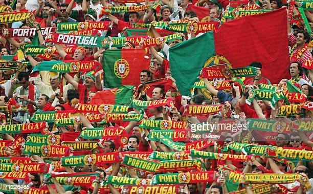 Portuguese fans show their support during the FIFA World Cup Germany 2006 Group D match between Portugal and Iran played at the Stadium Frankfurt on...
