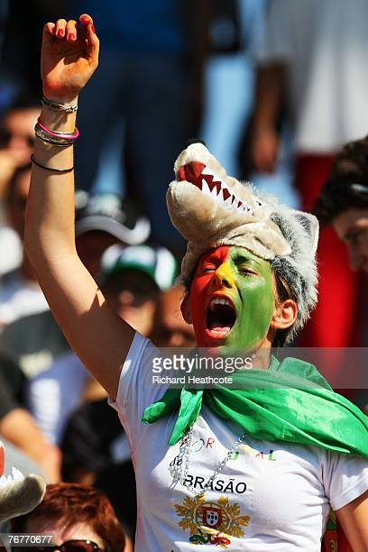 Portuguese fans shows her colours prior to match fourteen of the Rugby World Cup 2007 between New Zealand and Portugal at the Gerland Stadium on...