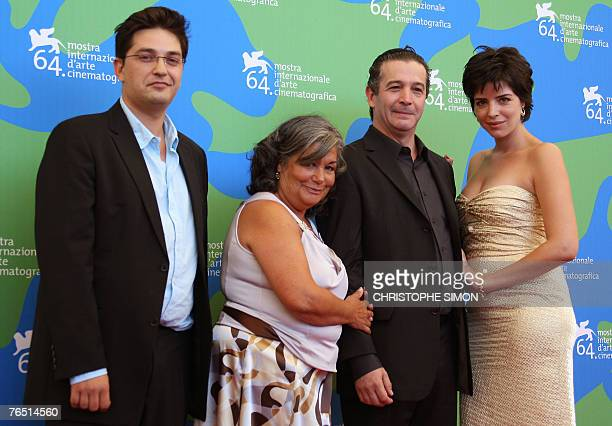 Portuguese film director Joao Canijo poses with Portuguese actors Tiago Rodrigues Mrcia Breia and Anabela Moreira pose during a photocall of 'Mal...