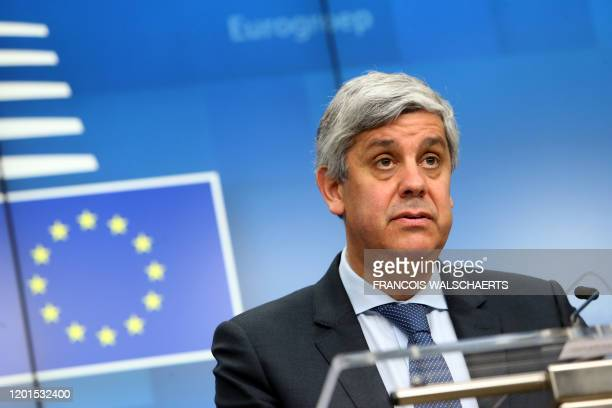 Portuguese Finance Minister and Eurogroup chief Mario Centeno gives a speech during a press conference following a General Affairs Council meeting at...