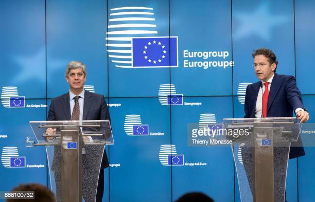 Portuguese Finance Minister Mario Centeno and the Dutch Minister of Finance President of the Council Jeroen Dijsselbloem are talking to media after...
