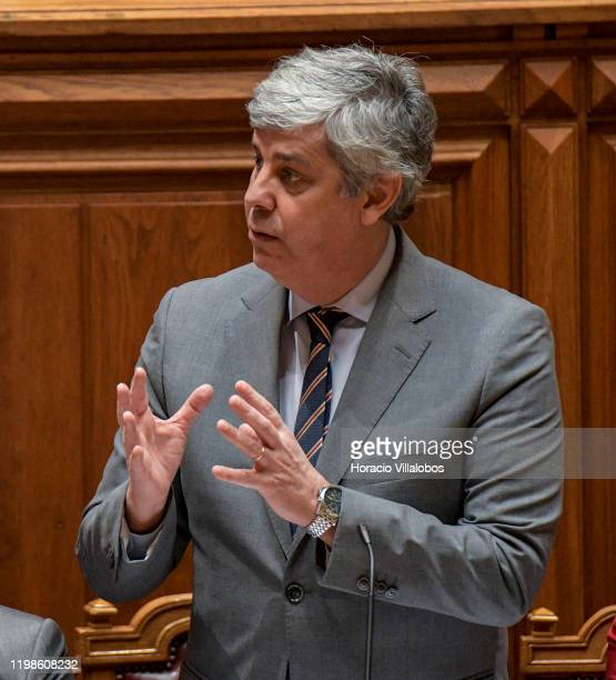 Portuguese Finance Minister Mario Centeno answers questions posed by parliamentarians during the second day of the debate of 2020 State budget at the...