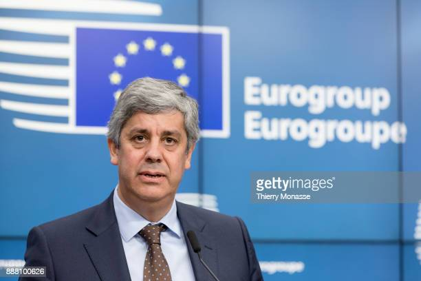 """Portuguese Finance Minister Mario Centeno is talking to media after the nomination of the new President of the """"u20ac group."""