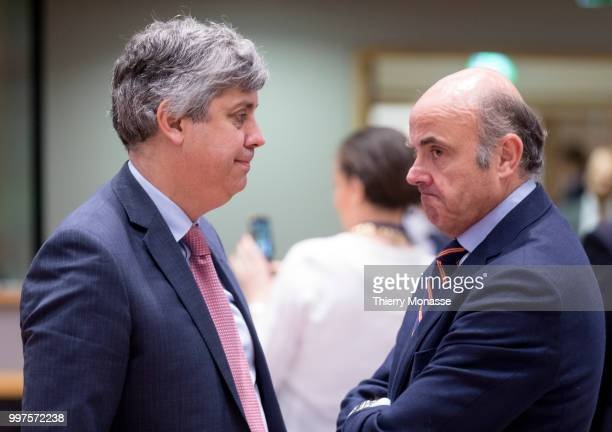 BRUSSELS BELGIUM JULY 13 Portuguese Finance Minister Mario Centeno is talking with the Vice President of the European Central Bank Luis de Guindos...