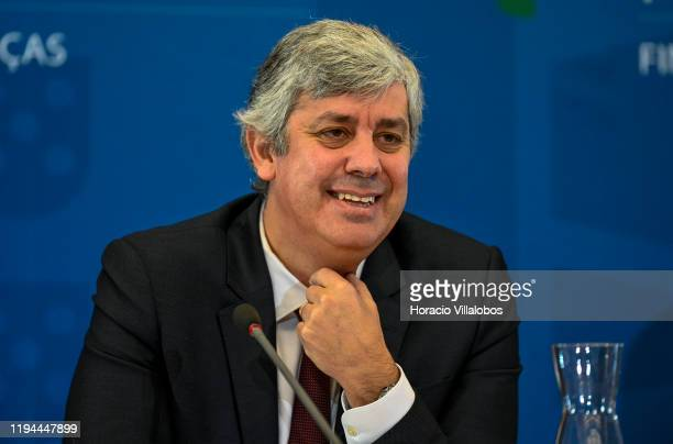 Portuguese Finance Minister Mário Centeno reacts to a question during a press conference in the Ministry of Finance a day after the presentation of...