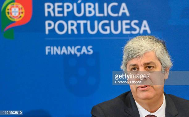 Portuguese Finance Minister Mário Centeno speaks during the press conference in the Ministry of Finance a day after the presentation of 2020 State...