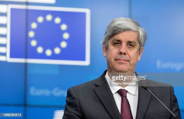 Portuguese Finance Minister, President of the Eurogroup Mario Centeno talks to the media at the end of a Eurogroup finance ministers meeting at the...