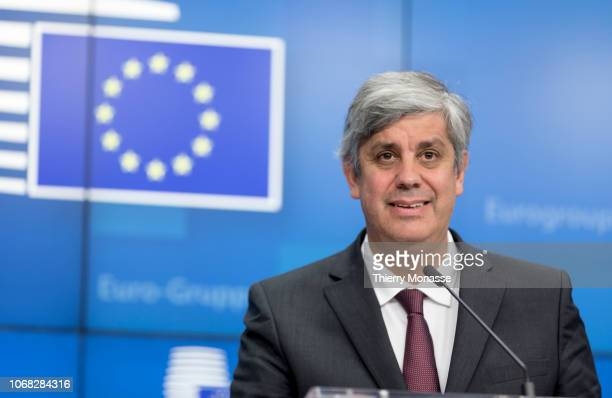 Portuguese Finance Minister President of the Eurogroup Mario Centeno talks to the media at the end of a Eurogroup finance ministers meeting at the...
