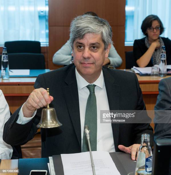 BRUSSELS BELGIUM JULY 12 Portuguese Finance Minister President of the group Mario Centeno calls his colleague prior an Eurogroup Ministers meeting on...