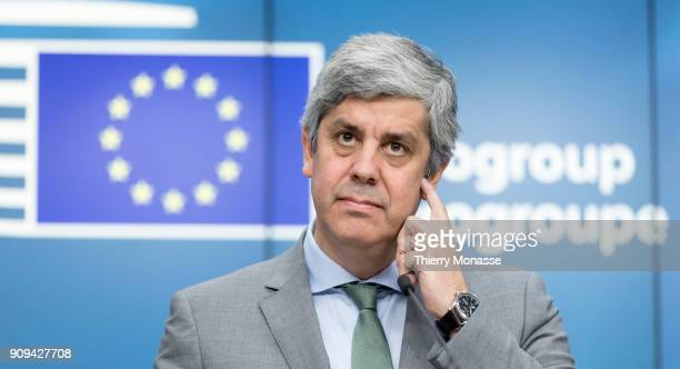 """Portuguese Finance Minister, President of the """"u20ac group Mario Centeno is talking to media at the end of an € Ministers meeting in the Europa, the..."""