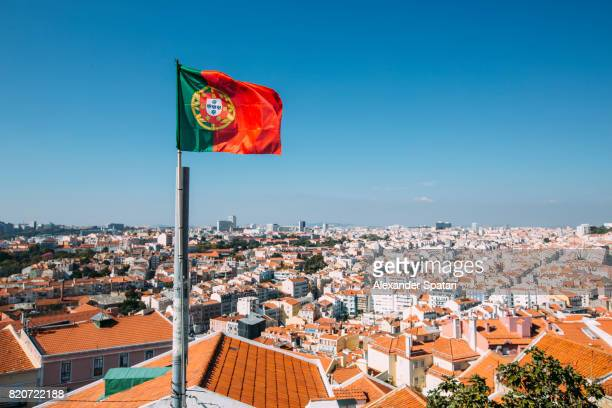 Portuguese flag and Lisbon skyline, Portugal