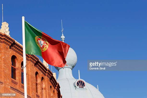 Portuguese Flag waves in front of Campo Pequeno on August 28 2014 in Lisbon Portugal