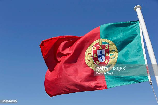 Portuguese Flag waves on August 28 2014 in Lisbon Portugal