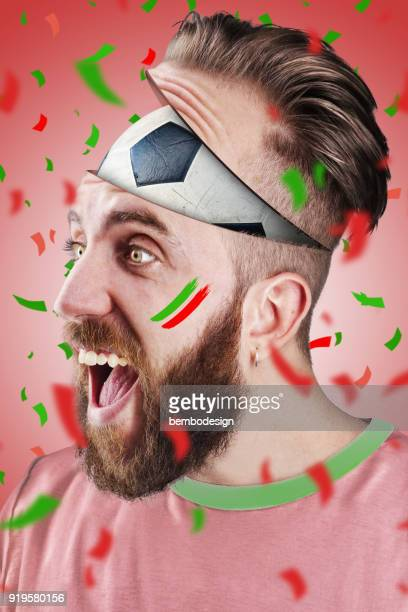 Portuguese football fan with football inside the head