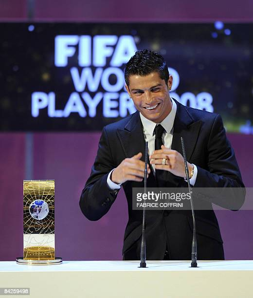 Portuguese football player Cristiano Ronaldo gestures after receiving FIFA world footballer of the year 2008 award on January 12 2009 in Zurich...
