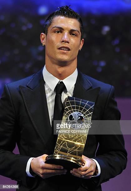 Portuguese football player Cristiano Ronaldo poses after receiving FIFA world Footballer of the Year 2008 award on January 12 2009 in Zurich Ronaldo...