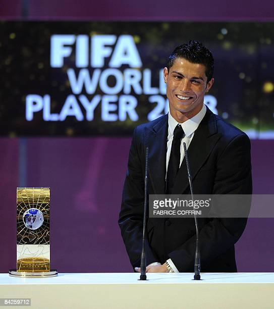 Portuguese football player Cristiano Ronaldo smiles after receiving FIFA world footballer of the year 2008 award on January 12 2009 in Zurich Ronaldo...