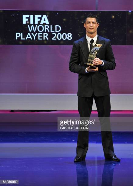 Portuguese football player Cristiano Ronaldo stands after receiving FIFA world Footballer of the Year 2008 award on January 12 2009 in Zurich Ronaldo...