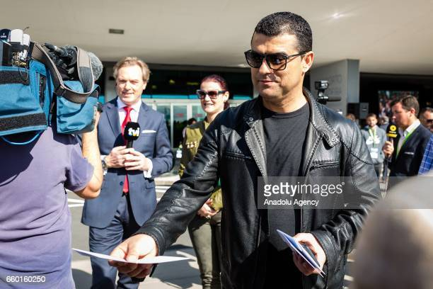 Portuguese football player Cristiano Ronaldo's brother Hugo Aveiro and his sister Elam Aveiro arrive to attend a ceremony held to rename Madeira's...
