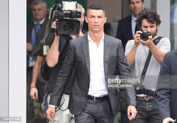 TOPSHOT Portuguese footballer Cristiano Ronaldo arrives on July 16 2018 at the Juventus medical centre at the Alliance stadium in Turin A Turin hit...
