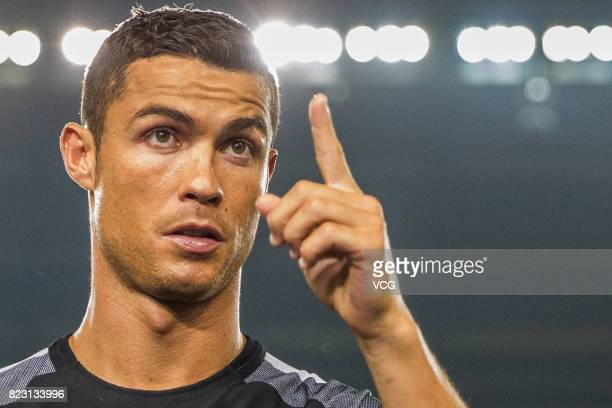 Portuguese footballer Cristiano Ronaldo attends an activity at Olympic Sports Centre on July 23 2017 in Beijing China