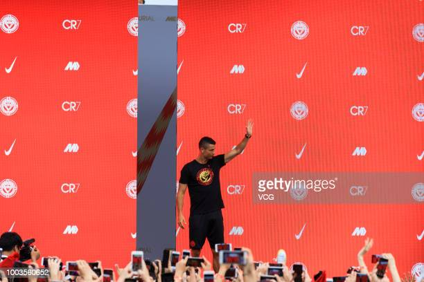 Portuguese footballer Cristiano Ronaldo meets fans as he attends a promotional event during his China tour on July 19 2018 in Beijing China